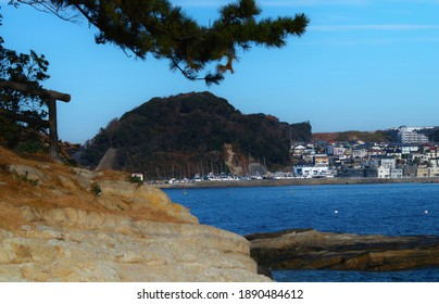"YOKOSUKA CITY, KANAGAWA PREFECTURE, JAPAN - JANUARY 4th, 2021: Mt.""Myojin-yama"" and its Neighboring Communities Viewed from Point ""Tomyozaki"" at the Entrance of ""Uraga"" Bay"