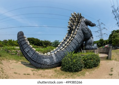 YOKOSUKA, Japan - AUG 14, 2016: A rear view of famous monster Godzilla in Yokosuka, Kanagawa, Japan