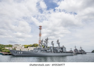 YOKOSUKA, JAPAN - MAY 4, 2017: Gray Japan Maritime Self-Defense Force replenishment oilers  stand ready for another task force mission at the Yokosuka Naval Port.