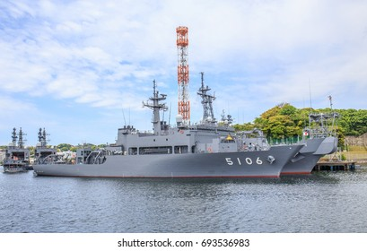 YOKOSUKA, JAPAN - MAY 4, 2017: Japan Maritime Self-Defense Force minesweepers are moored closely together at the huge Yokosuka Naval Port.