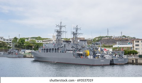 YOKOSUKA, JAPAN - MAY 4, 2017: Japan Maritime Self-Defense Force minesweepers are prepared for an important task force mission at the Yokosuka Naval Port.