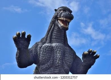 YOKOSUKA, Japan - Oct 6, 2018: Godzilla statue in KurihamaYokosuka, Godzilla is very popular in movie or animation.