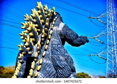 YOKOSUKA, KANAGAWA / Japan - Apr. 6, 2019: Godzilla statue in Kurihama Hananokuni(Kurihama Flower Park), Godzilla is very popular in movie or animation.