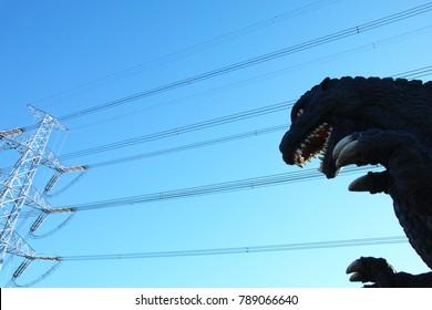 YOKOSUKA, KANAGAWA PREFECTURE, JAPAN - DECEMBER 18, 2017: A Godzilla-shaped Slide in Kurihama Flower Park