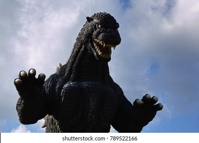 YOKOSUKA, KANAGAWA PREFECTURE, JAPAN - NOVEMBER 7, 2017: The Looming Godzilla-shaped Slide in Kurihama Flower Park