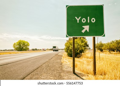 """Yolo road sign. """"You Only Live Once"""" concept"""