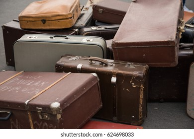Yom Hashoah - International Holocaust Day Installation. Abandoned suitcases' remnants on a street. Budapest, Hungary, 2017