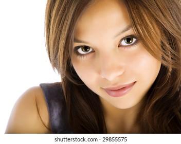 yong pretty girl on the white portrait