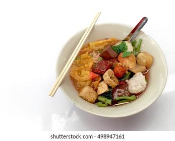 Yong Tau Foo is a Hakka Chinese food consisting primarily of tofu
