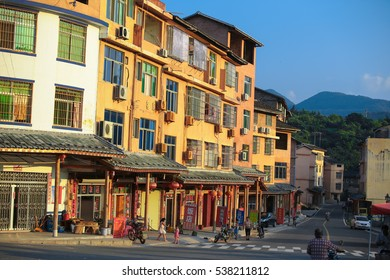 YONGDING, CHINA - JULY 29, 2014 : Shop houses at Yongding town, Fujian china provide food and lodging to tourist come to visit the Fujian Earthern building cultural village.