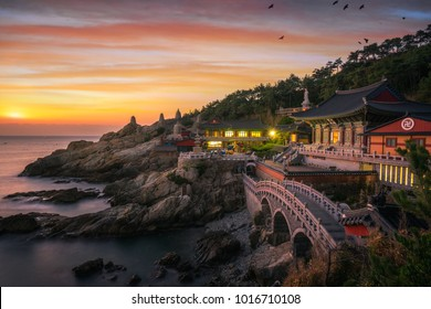 Yonggungsa temple on the beach and rock Mountain of Busan sea, Busan city, South Korea and Korean text is the name of temple