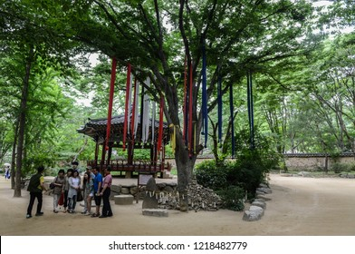 Yongin, Korea, July 05, 2014: Seonangdang are trees or holy stone cairns which are dedicated to the deity of the village which wards of misfortune or disasters. Location is Korean folk village in Yong