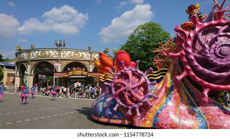 Yongin, South Korea - May 31, 2018: Massive and audacious float and mascot travelling on it can be seen in a carnival street parade at the Everland Theme Park, a decorative vehicle not to be missed.