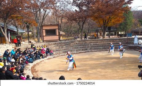 Yongin,South Korea - November 21,2019 :  Korean traditional music and dance
