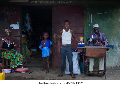 Yongoro, Sierra Leone - June 01, 2013: West Africa, the village of Yongoro in front of Freetown, the tailor