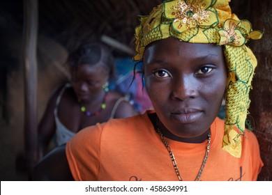 Yongoro, Sierra Leone - June 02, 2013: West Africa, the village of Yongoro in front of Freetown, portrait of woman