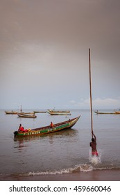 Yongoro, Sierra Leone - June 03, 2013: West Africa, the beaches of Yongoro in front of Freetown