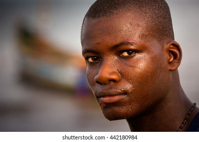 Yongoro, Sierra Leone - May 30, 2013: West Africa, the beaches of Yongoro in front of Freetown, portrait of fisherman