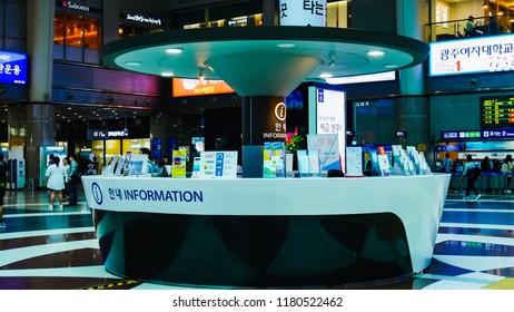 Yong-San Siuth Korea, 16 SEP 2018 : Tourist information Yong-San center at the  Central Station.Beautiful information teble, At Yong San city, Siuth Korea.