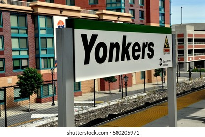 Yonkers, NY - August 6, 2012:  Metro-North Railway sign on the Yonkers railroad station platform