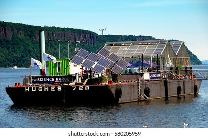Yonkers, NY - July 13, 2009:  The Science Barge moored at the Yonkers Public Pier on the Hudson River offers visitors a chance to see green programmes at work