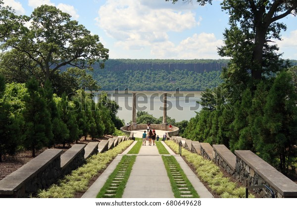YONKERS, NY - JULY 3, 2017: Untermyer Gardens. 945 North Broadway. Stairs that lead to and from the Vista Overlook. Editorial use only.