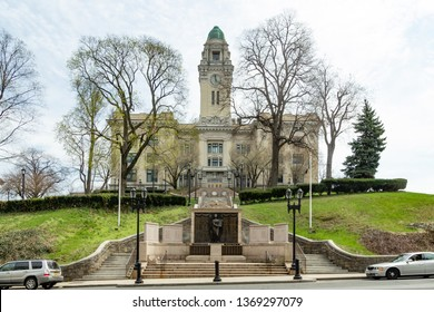 Yonkers, NY / United States - April 14, 2019: Landscape view of Yonker's City Hall Building