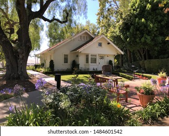 YORBA LINDA CALIFORNIA - JULY 2019: Nixon's Birthplace and Childhood Home (front), Richard Nixon Presidential Library and Museum in July 2019 in Yorba Linda. Nixon was born in the family home.