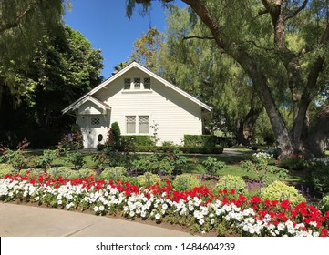 YORBA LINDA CALIFORNIA - JULY 2019: Nixon's Birthplace and Childhood Home (back), Richard Nixon Presidential Library and Museum in July 2019 in Yorba Linda. Nixon was born in the family home.
