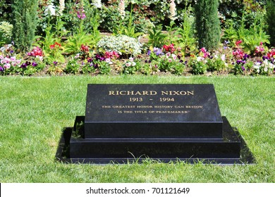 Yorba Linda, CA/USA: March 20, 2017 – Gravestone of 37th President of the United States Richard Nixon at the Nixon Library and Museum in Yorba Linda California.