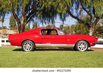 YORBA LINDA/CALIFORNIA - OCT. 1, 2016: Classic Ford Mustang GT500 departing from the community center in Yorba Linda, California USA