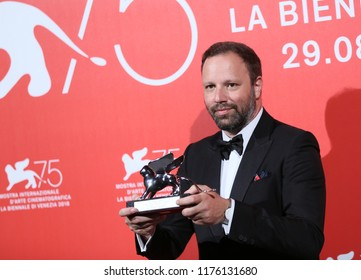 Yorgos Lanthimos poses with the Silver Lion - Grand Jury Prize for 'The Favourite' at the Winners Photocall during the 75th Venice Film Festival on September 8, 2018 in Venice, Italy.