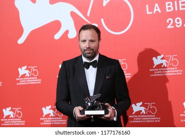 Yorgos Lanthimos poses with the Silver Lion - Grand Jury Prize for 'The Favourite' at the Winners Photocall during the 75th Venice Film Festival at Sala Grande on September 8, 2018 in Venice, Italy.