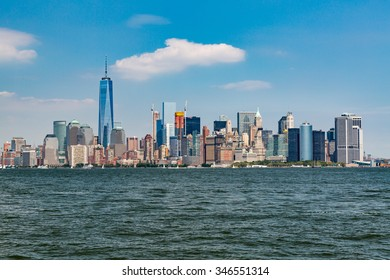 ?NEW YORK - AUGUST 24: Views of Midtown Manhattan from Liberty Island side on August 24, 2015. This park provides a beautiful view to the Manhattan skyline.