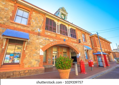 York, Australia - Dec 25, 2017: perspective of York Post Office built in 1893 with original clock, York, a popular tourist and historic town east of Perth.The oldest and first inland settlement in WA.
