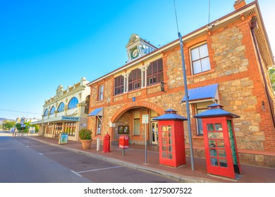 York, Australia - Dec 25, 2017: York Post Office built in 1893 with original clock and York Co-op. York, a popular tourist and historic town east of Perth.The oldest and first inland settlement in WA.