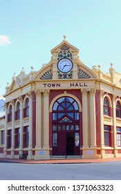 YORK, AUSTRALIA - November 19, 2015. Front view of historic Town Hall with clock and pillars, built in 1911, in the oldest town of Western Australia.