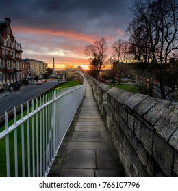 York city roman walls at sunset