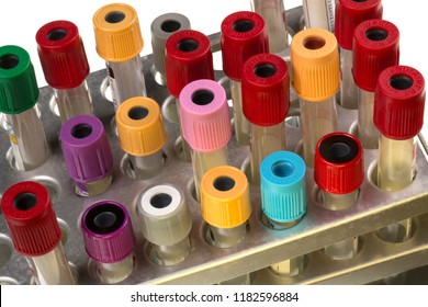 York. England 03.16.15. A rack of medical sample collection tubes used in NHS hospitals for the collection of blood samples for laboratory testing.
