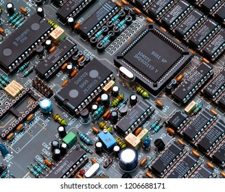 York. England. 04.24.05. Electronics - Close up of microprocessors on a printed circuit board