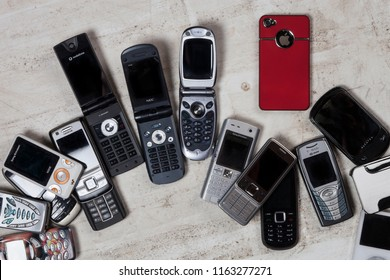York. England. 08.02.13. A selection of old obsolete mobile phones (cell phones).