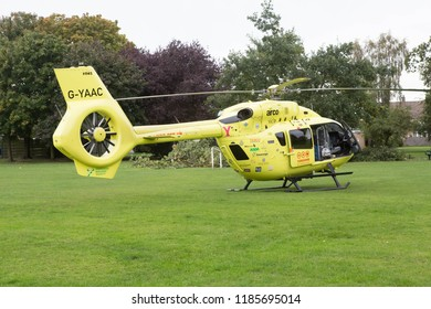 YORK, ENGLAND, 22 SEPTEMBER 2018. The Yorkshire Air Ambulance standing on a playing field in York, England while on a rescue mission.