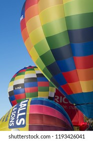 YORK, ENGLAND 28 SEPTEMBER 2018 Hot air balloons being inflated and taking off from York Knavesmire