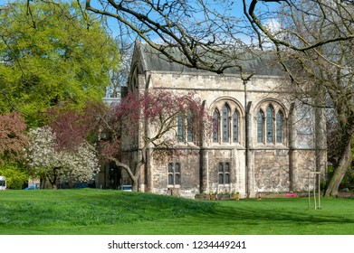 York, England - April 2018: Building of the Old Palace at Deans Park in the city of York, North Yorkshire, England, UK, also known as the York Minster Library