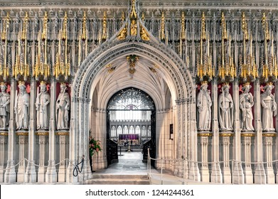 York, England - April 2018: The Kings Screen curtained between the nave and the choir inside cathedral of York Minster depicting fifteen figures of English kings from William the Conqueror to Henry VI