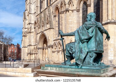 York, England - April 2018: Statue of Constantine The Great outside York Minster, historic cathedral built in English gothic style and major tourist landmark of the City of York in England, UK