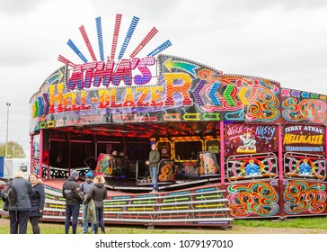 YORK, ENGLAND. APRIL 28 2018. Traditional waltzer ride at a fairground  in York, United Kingdom.