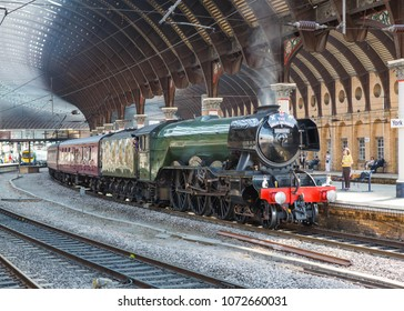YORK, ENGLAND APRIL19, 2018 Former LNER A3 Pacific steam locomotive 60103 Flying Scotsman in its British Railways livery at York Station.