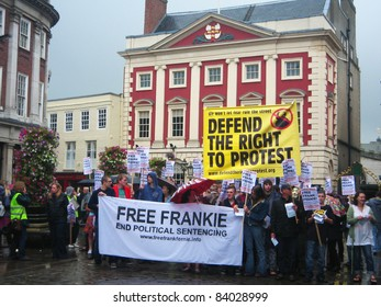 YORK, ENGLAND - AUGUST 20: English people protest to defend the right to protest and free Frankie and end political sentencing on August 20, 2011 in York city center.