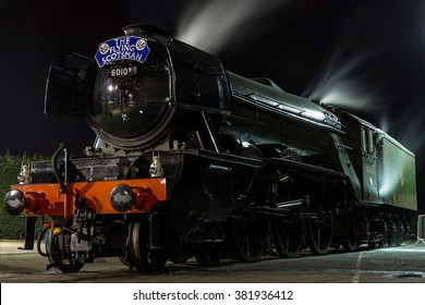 YORk, ENGLAND - FEBRUARY 25: The Flying Scotsman rests at the National Railway Museum (NRM) after its inaugural trip from Kings Cross (London) on August 25 2016 in York, England.